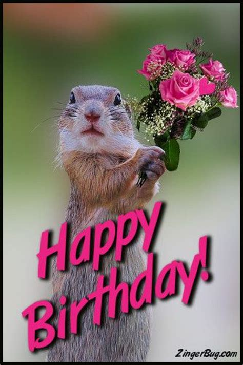 622222068592 Artsi Glitter Pets Squirrel happy birthday squirrel with bouquet glitter graphic greeting comment meme or gif