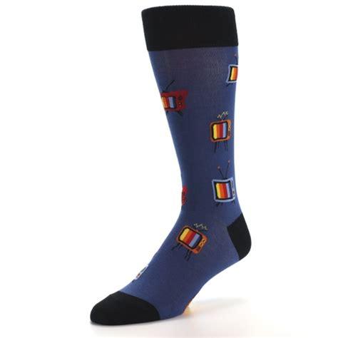 blue pattern socks blue tv pattern men s dress socks mod sock