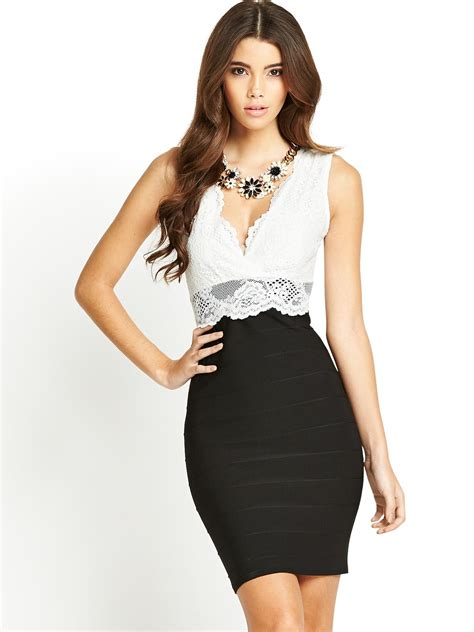 Dress Guess 2in1 lipsy 2in1 lace bodycon dress in black black lyst