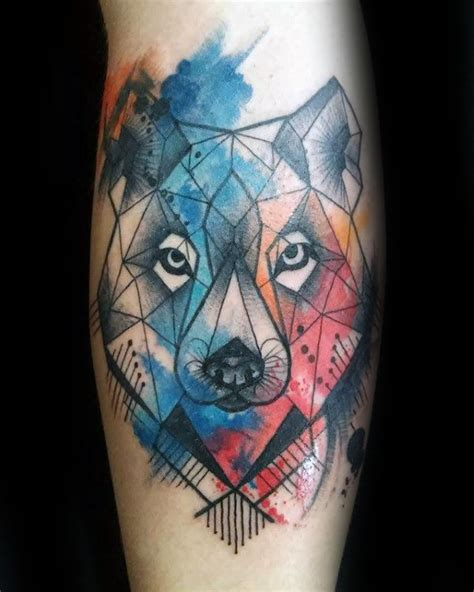 watercolor wolf tattoo 90 geometric wolf designs for manly ink ideas