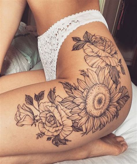 thigh hip tattoo designs 20 of the most boujee sunflower ideas leg thigh