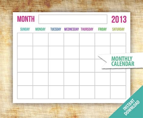 digital monthly calendar template printable blank