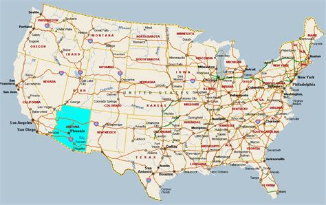 arizona state in usa map fitzy s web site travel united states of america