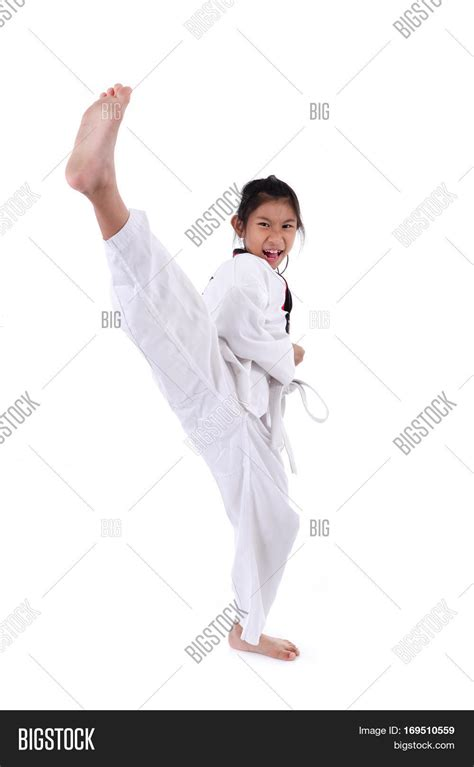 karate kid chinese girl asian child girl stretching leg image photo bigstock
