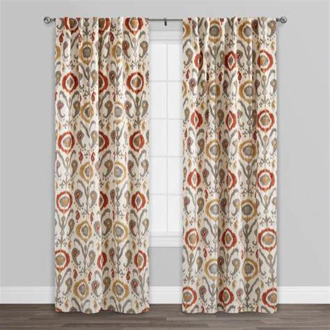 orange cotton curtains orange ikat cotton concealed tab top curtains set of 2