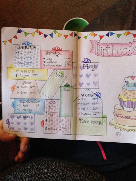 layout for journal intime my birthday reminder pages in my bullet journal love this