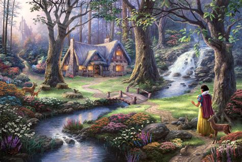 Fantasy art fairies thomas kinkade painting trees flowers stream house waterfall bridge