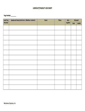 Lock Out Tag Out Log Sheet Olala Propx Co Lockout Tagout Log Template