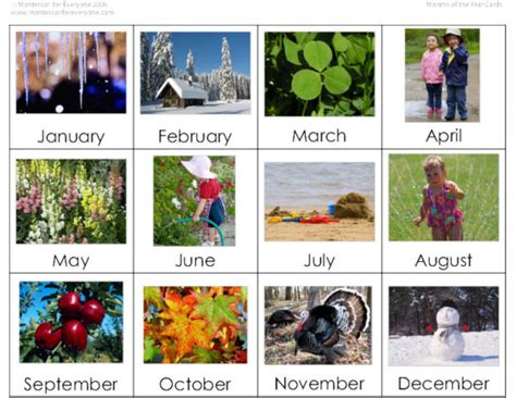 printable montessori calendar activity of the week montessori inspired months and