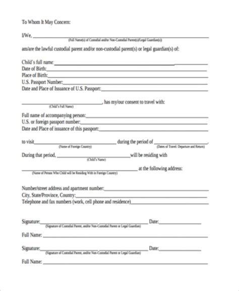 consent letter for child traveling with one parent child travel consent form sle 6 free documents in