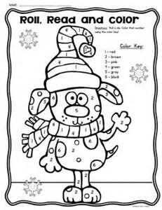 freebie roll read and color winter game great for