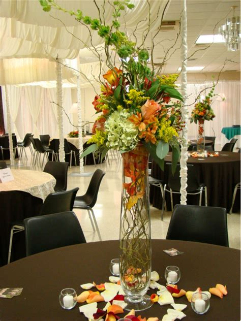 tall wedding centerpieces with colorful flowers png hi res