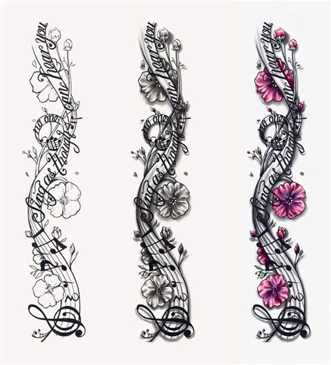 music tattoo sleeve designs notes designs musical notes design by