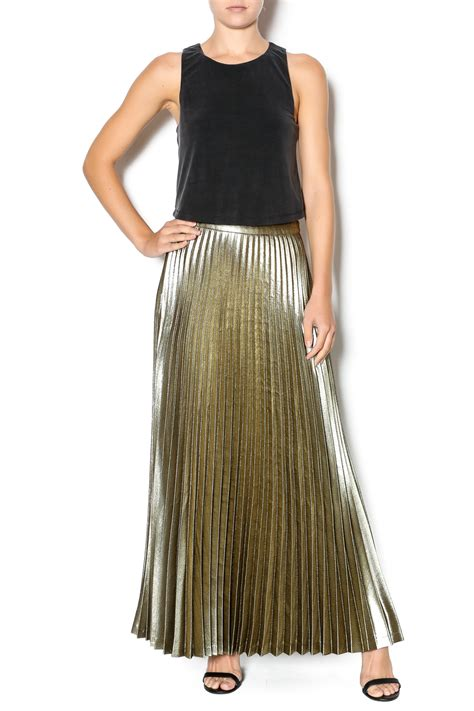 silivan heach gold pleated maxi skirt from germantown by