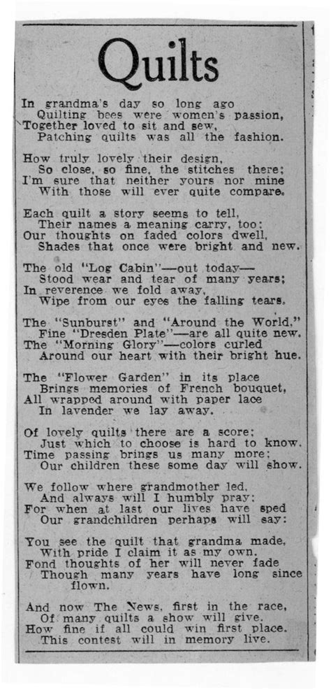 Poems About Quilting by Quilt Poem From 1930 The Quilt Index Quilts Are