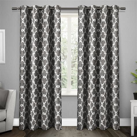 grey pattern grommet curtains new set 2 curtains panels drapes 63 84 96 108 in blackout