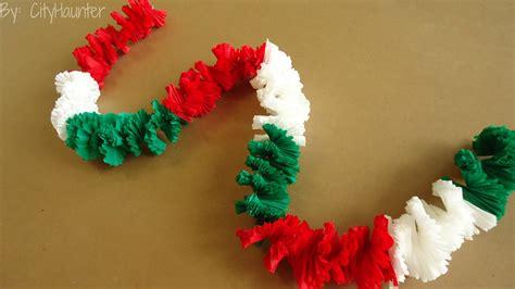 cadenas navideñas de papel crepe guirnalda collar hawaiano fiestas patrias youtube