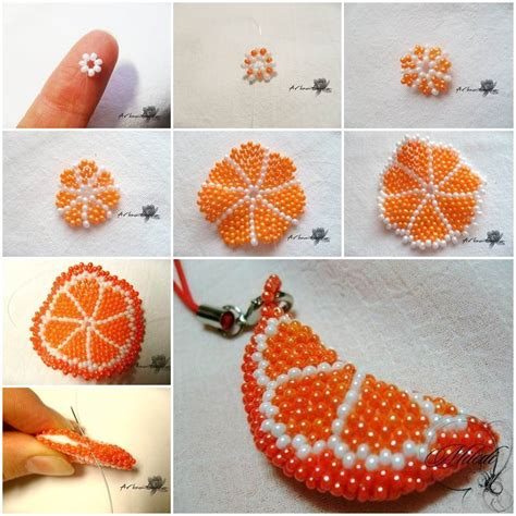 beading diy diy beaded orange slice key chain