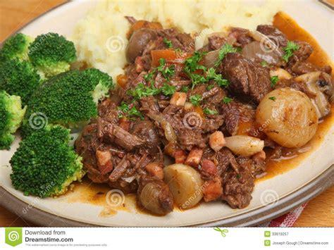 beef bourguignon dinner beef bourguignon stew dinner royalty free stock