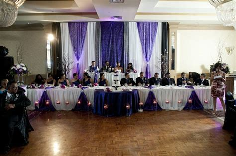 decorating the head table at a wedding reception ehow purple wedding decorations purple black white silver