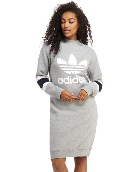 Sweater Pria Adidas Black Grey Hoodie Lyst Adidas Originals High Neck Sweater Dress In Gray