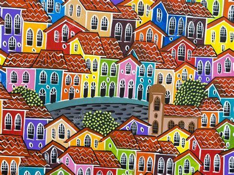 colorful houses painting pintura de casas coloridas do pelourinho em salvador