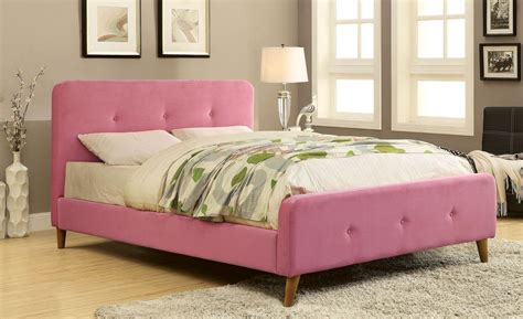 Barney Pink Twin Upholstered Panel Bed Cm7272pk T Upholstered Bed Pink