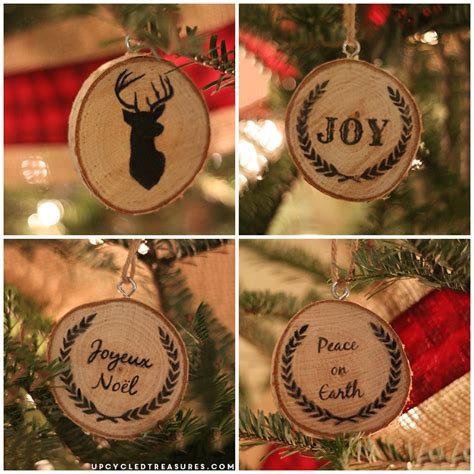 how to make wooden ornaments diy wood slice ornaments upcycled treasures