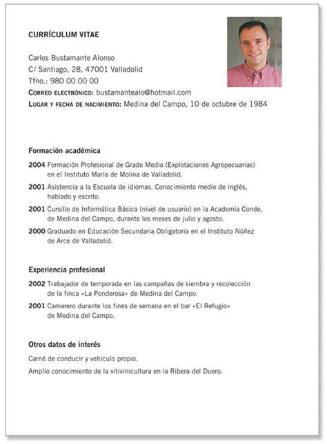 Plantilla De Curriculum Vitae Basico Con Foto Modelo De Curr 237 Culo Pronto De Modelos De Curr 237 Culos Prontos