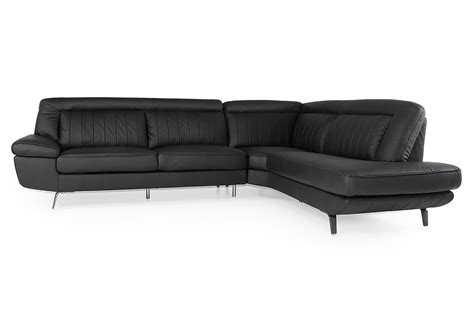 black leather sectional with ottoman divani casa galway modern black leather sectional sofa