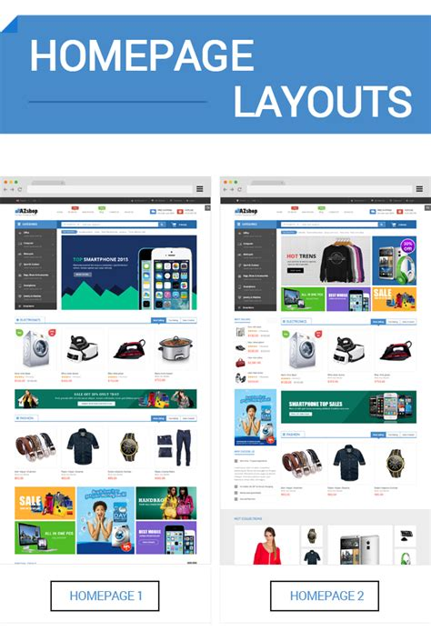 layout homepage magento sm azshop responsive multipurpose magento theme