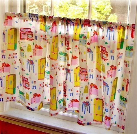 Retro Kitchen Curtains Retro Vintage Style Kitschy Kitchen Cafe Curtains By Fussygussy