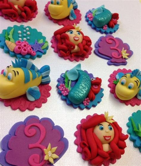 the mermaid children s themed fondant cupcake toppers by cherry bay cakes sugar
