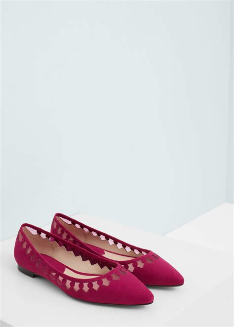 flat shoes for mango pointed toe flat shoes in purple lyst