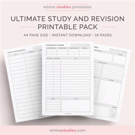 printable revision planner revision printables tumblr