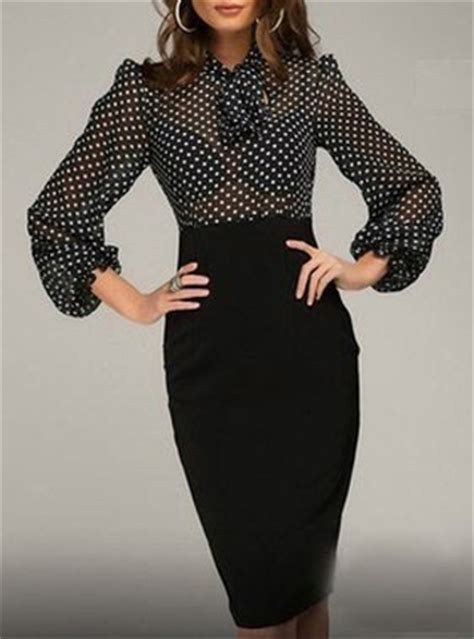 black and white pattern long sleeve dress midi dress black white long full sleeves polk dot