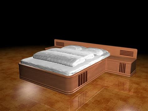 platform bed with built in nightstands platform bed with built in nightstands 3d model 3dsmax