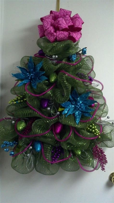 a c moore deco mesh tree with ornaments decomesh