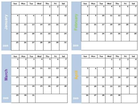 four month per page calendar template autos post