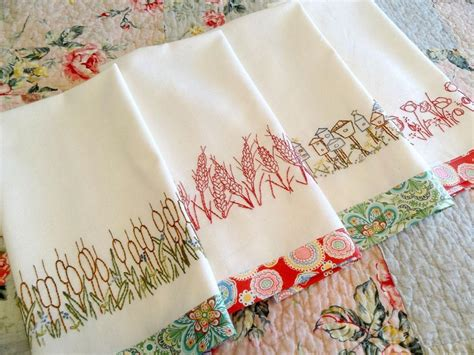 Kitchen Towel Embroidery Designs You To See Redwork Kitchen Towels Embroidery By Countrygarden