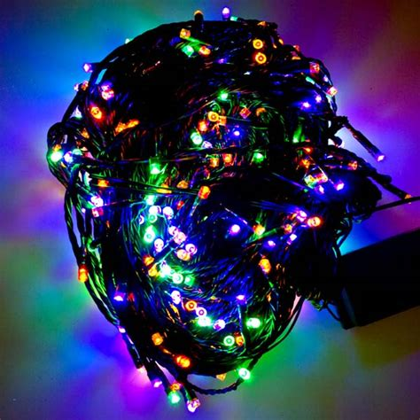 Multi Coloured Outdoor Lights 8m Length Of 80 Multi Coloured Multi Outdoor Premier Supabrights Led Lights Green