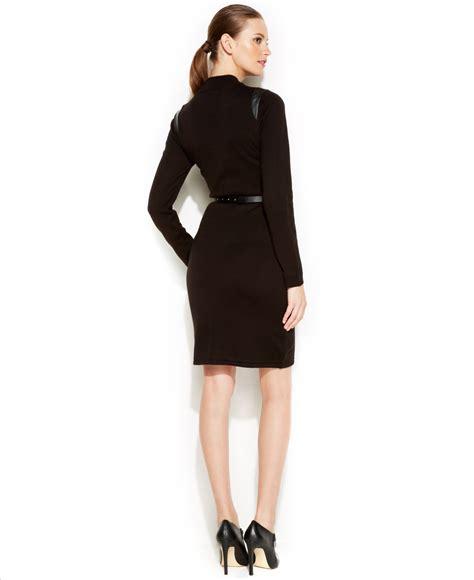 calvin klein zip front belted sweater dress in black lyst