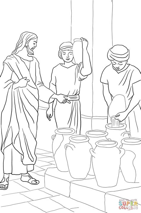 jesus turns water into wine coloring page coloring home