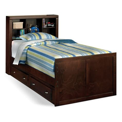 Espresso Wood Kids Bed With Drawers And Bookcase Headboard