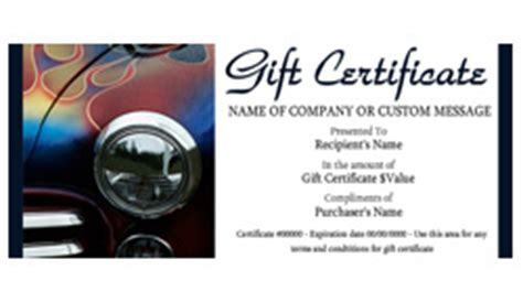 auto repair and maintenance gift certificate templates
