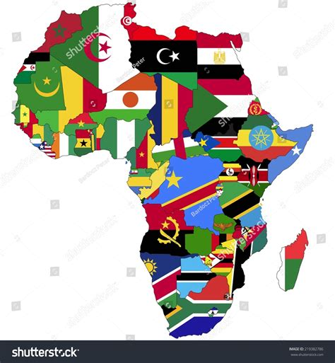 africa map flags highly detailed africa map country flags stock vector 219382786