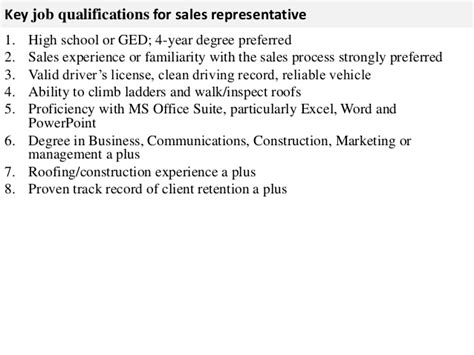sales rep description sales representative description