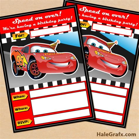free printable disney cars lightning mcqueen birthday invitation - Disney Cars Birthday Invitations Printable Free