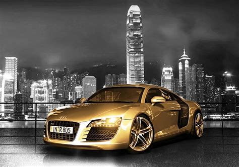 audi r8 gold audi r8 gold city background