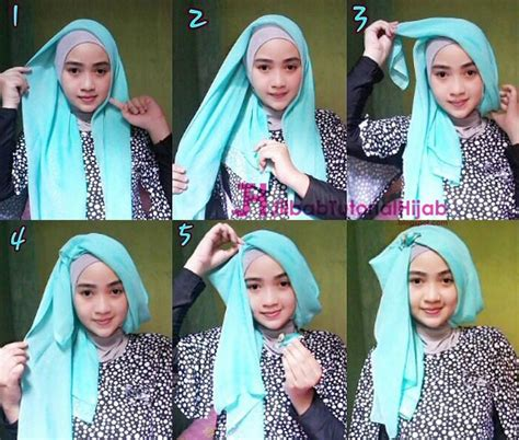 Tutorial Hijab Simple Glamour | tutorial hijab turban segi empat simple jilbab tutorial